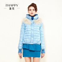 Seashells 2013 winter women's outerwear candy color slim top down coat female short design