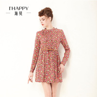 Seashells 2013 autumn and winter women slim print skirt high waist long-sleeve dress female