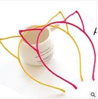 fashion hair wrap chiffon weaving  little devil cat ears headband girls hair accessories  wholesale  24pcs/lot free shipping