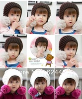 Free shipping 2013 new autumn winter double ball Children's knitting hat baby ear protection hat children accessories MZ0579