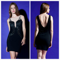 Free Shipping 2013 New Fashion Women Party Trending Sexy Mesh Beaded Bandage Dress H566