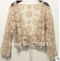 New Fashion Hollow Crochet Lace Coat Small shawl Cardigan Crochet blouse Free shipping FZ 41