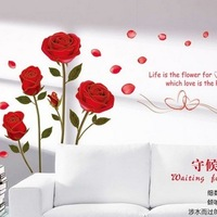 Cheapest Popular Bronzier Rose Flower Sofa Wall Stickers Ay6005 Wall Mural Home Decor