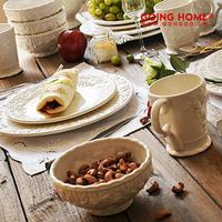 Tableware set royal rose vintage relief plate bowl cup
