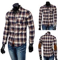Free shipping 2014 new applique decoration long-sleeve plaid shirt slim shirt male shirt
