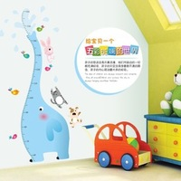 PVC Cartoon Blue Elephant Height Ruler Wall Stickers Child Real Height Measure Wall Decal Stickers Kids Home Decor