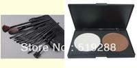 Retail Make up set combination 12 pcs Professional Makeup brush Set+2 color Cosmetic Bronzers Powder Palette Replace M