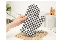 Free Shipping! Wholesale 1 PC cotton Black and White Plaid Kitchen Oven Mitts Japan style