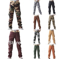 Fashion Mens Army Combat Camo Casual Pockets Camouflage Long Trousers Loose Pants