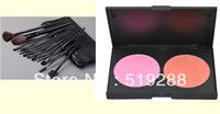 Professional Replace M Make up set combination 12 pcs Makeup brush Set+Double color Cosmetic Bronzers Pressed Powder Palette