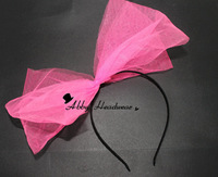 80s Headband - Tutu Net Bow - Hen Party Hair Band Fascinator 9 colours Double