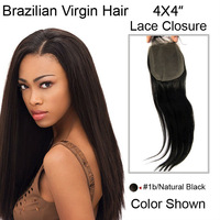 "12""-22"" in stock brazilian virgin hair silky straight human hair lace closure natural black color #1b 4*4inch bleached knots"