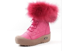 Winter Women's  Snow   Casual   Short  Boots  shoes  Black +Blue  Color  Fashion Shoes  With Rabbit  Fur  Snow  Waterproof  Shoe