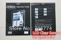 For ipad5 ipad 5 ipad AIR Clear LCD Screen Protector protective film with Package  200pcs/lot