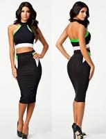 Free Shipping!Fashion Women Slim Mid-Calf High Street Sexy Club Dress Backless 2 Pieces Black HW9051