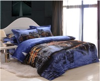 City oil printing Luxury 4pc bedding set 3d Bedclothes bed linen bedsheet cotton Duvet/Quilt cover pillowcase sets queen bed set