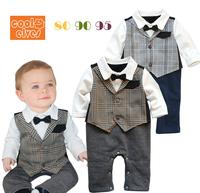 2013 baby boy long sleeve romper, kids gentleman jumpsuit,3 pcs/lot