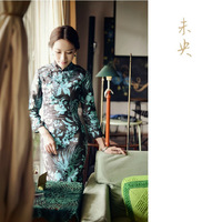 Vintage slanting lapel plate buttons three quarter sleeve medium-long print linen long Qipao, four size, CPAM