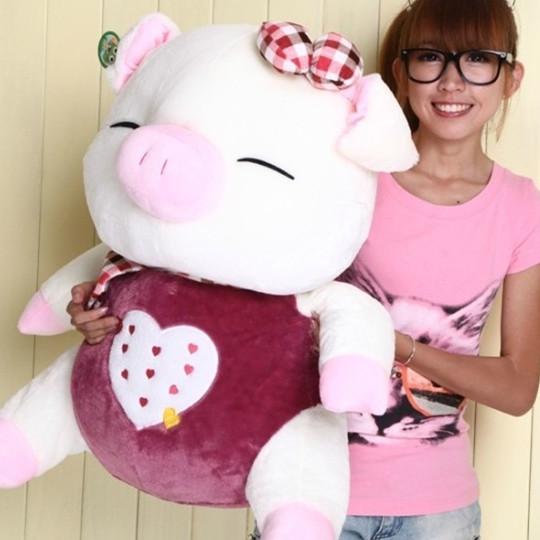 Nova chegada de três cis porco brinquedo de pelúcia amor grande porco boneca de presente de aniversário(China (Mainland))