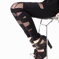 nz081-1  wholesale 6pcs Ripped Cut-out Bandage Black Woman Leggings trousers Sexy Pants