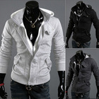 freeshipping Spring and autumn Hooded zipper solid colur cardigan men's casual slim warm jacket(China (Mainland))