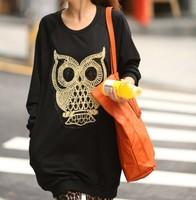 S1053 Fat women Big Plus size Long Sleeve Thick Tee T Shirt Ladies owl Print Pattern Casual Autumn Winter Top Blouse XXL XXXL