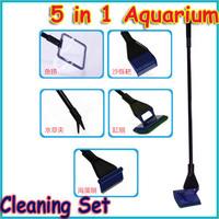 Free shipping! 5 in 1 Aquarium Cleaning Set Fish Net Gravel Rake Scraper Fork Window Sponge