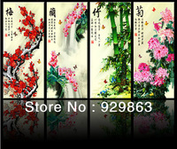 Chinese classic painting 3D ribbon stitch sets, cross stitch kit, embroidery kit 42*75 CM*4 pieces