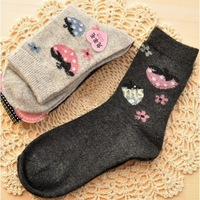 Autumn and winter thermal thickening rabbit wool socks sock high socks strawberry pattern women's thermal socks
