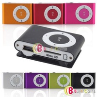 1Pcs/lot Mini Fashoin Clip Metal USB MP3 Music Media Player Support Micro SD TF  #10043