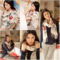 2013 New Autumn and Winter Women's Fashion Long Wrap Shawl Beach Scarf - Lotus Flowers Scarf026