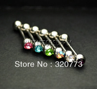 Straight Crystal Barbell rings 14G 316L piercing jewelry Barbell Ear Ring Eyebrow Barbells Nipple Ring