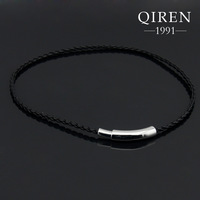 NEW arrival stainless steel parts with leather chain necklace special design, silver men necklace QR-368