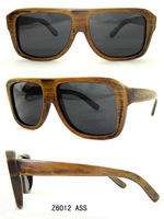 Free Shipping Purely Hand Made Sunglasses Big Frame Polarization Sunglasses Bamboo Stain Frame Grey Lens  6012 ass