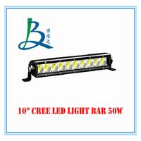 10'' cree led light bar 50w for jeep boat atv utv vehicles