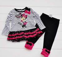 NEW,2013 children's set 5pcs/lot girls Princess dress 100% cotton striped dresse dress+pants suits Minnie free shipping