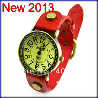 soft Cow leather Punk Two rows Rivets Roma Hands Women Bangle Bracelet Dress Watch.TOP quality 50pcs/lot