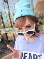 HAT008 Free shipping 2013 New Fashion Autumn and winter knitted jelly fluo men's hat plastic rivets women's cap hip hop hat
