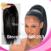 Hot sale new arrival natural color yaki straight 100% virgin brazilian human hair drawstring ponytail in stock