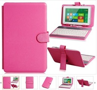 "Textured Faux Leather Protective Case Cover with USB 2.0 Keyboard for 7"" Tablet PCs (Pink)"