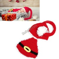 3SETS/LOT New Christmas Newborn Infant Baby Santa Crochet Knitted Wool Hat Beanie Photography Props Outfits Red 0-6 Months 18898