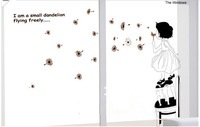 Free Shipping Wholesale Cute Dreaming Girl Blow Dandelion Wall Sticker Decals Decor Removable Kids Room Stickers