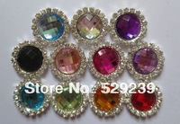 20mm Acrylic rhinestone buttons flat back free shipping,Mixed color
