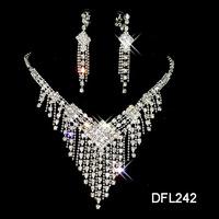 A024 Neckace earrings set Elegant Rhinestone Crystal Wedding Bride Party  B12