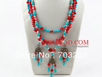 Free Shipping!! Necklace Women Three Strands Red Coral Beads Necklace With Turquoise Necklace Metal Accessories Vintage Necklace