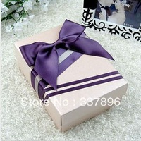 European Style New Wedding Candy Box With Silk Ribbon Wraps Flowers Wedding Favors