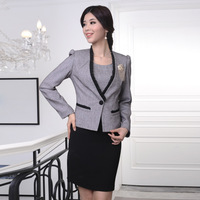 Work wear autumn and winter grey one-piece dress twinset work wear work wear women's ol set