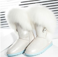 Stain Brand  Women's Wool and in one Noble Snow Boots  High Circuit  Fur  White  Color  Fox   Fur  Rhinestone  Buckle Snow Boots