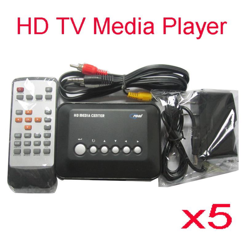 5pcs/lot HD TV Media Player USB SD/MMC Multi Media Vedio Player RM RMVB MPEG4 With Remote Control Free Shipping(China (Mainland))
