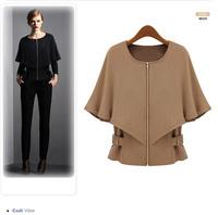 Korean fashion women's Clothes models wild slim shawl Zipper Bat shirt CL_57